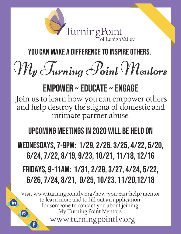My Turning Point Mentors Flyer 2020 dates