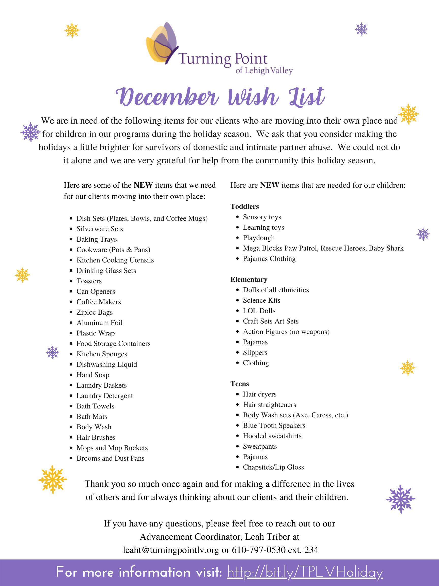 Holiday Wish List Needs 2020