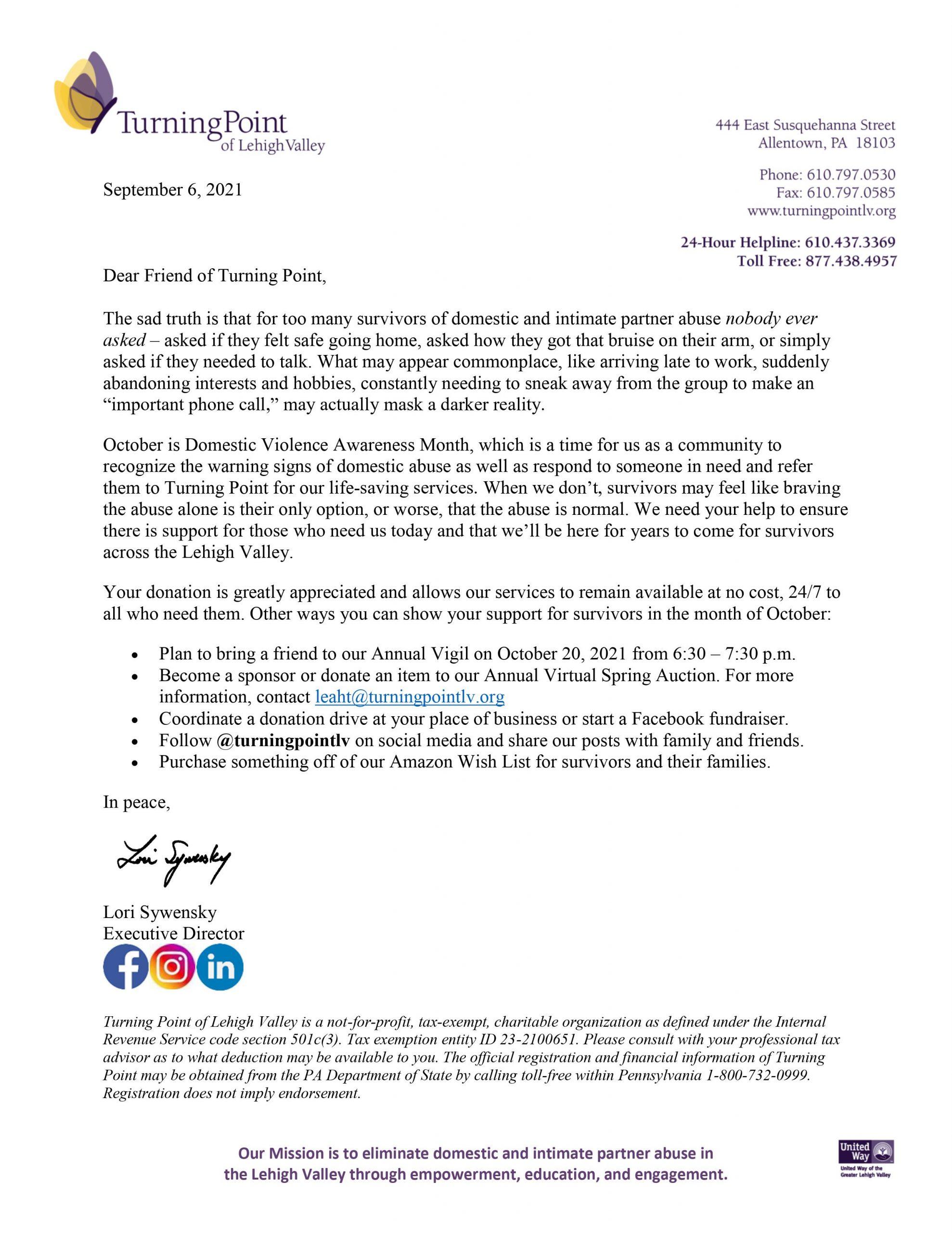 DVAM 2021 Appeal Letter